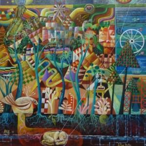 """""""Tellus Mater""""  1981 Huile s/Panneau 150x150 Collection Ville de Chateaubernard"""