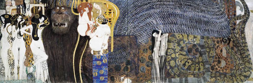 Gustav Klimt, Beethovenfries (Detail): Die feindlichen Gewalten
