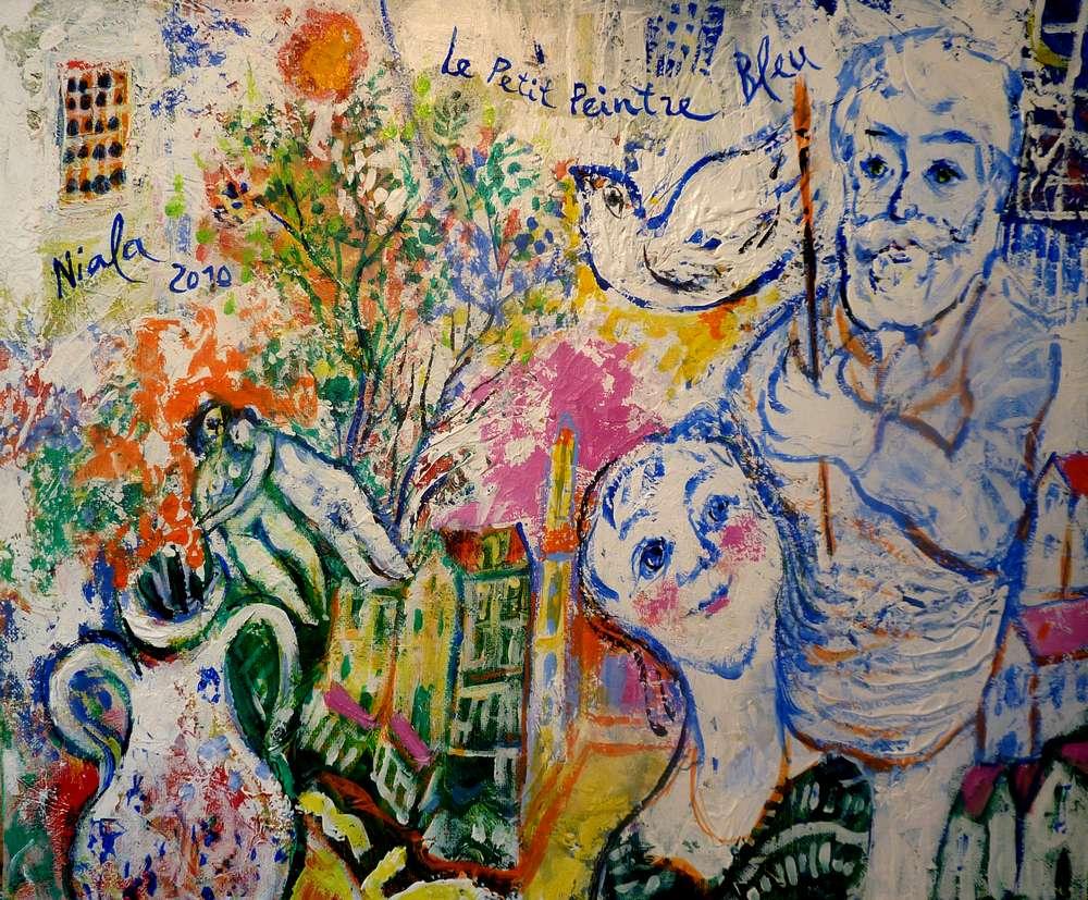 LE PETIT PEINTRE BLEU - 2010 - NIALA Acrylique sur toile 46 x 38 004