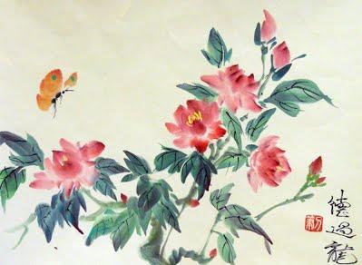 pivoine et papillon 45x34