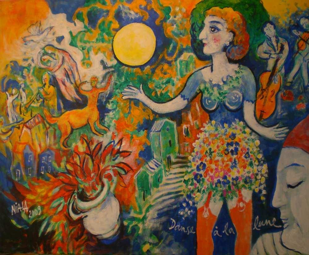 DANSE A LA LUNE 2009 Huile toile 73 x 60 001