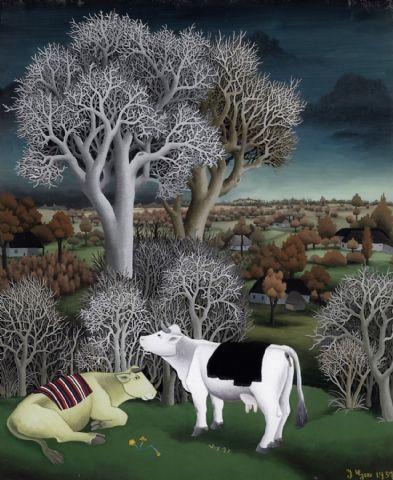 cows in landscape 1957 www.artinconnu.com