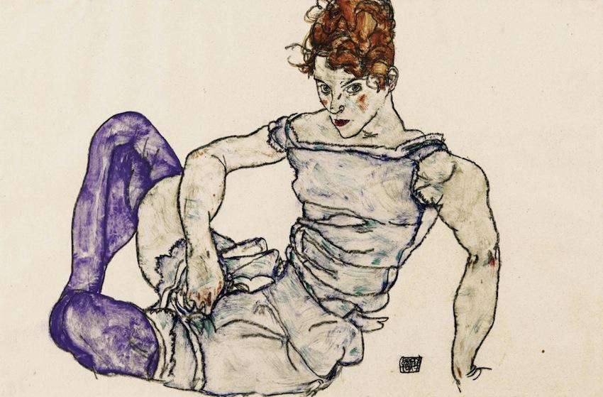 Egon-Schiele-Sitzende-Frau-in-violetten-Strümpfen-1917-©Courtesy-Richard-Nagy-Ltd.-London