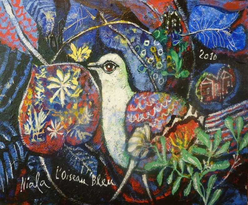 NIALA L'OISEAU BLEU- 2010 - Acrylique sur toile 46 X 38 008