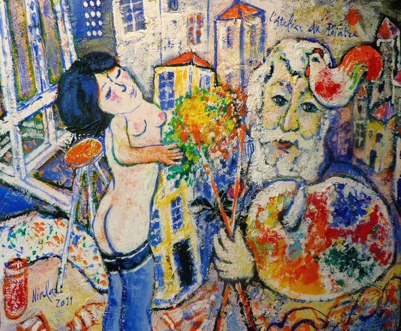 L'ATELIER DU PEINTRE - 2011 - NIALA - Acrylique sur toile 46x38 010